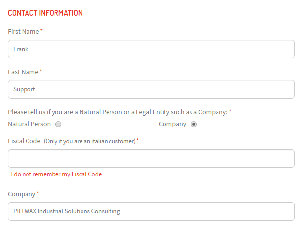 Italian Tax Code Codice Fiscale or Fiscal Code for Magento – Customer Contact Information Form